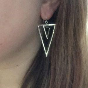 Jewelry - Silver Double Triangle Earrings
